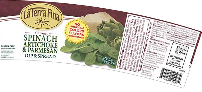 La Terra Fina Chunky Spinach Artichoke & Parmesan Dip & Spread, 31 oz., front label
