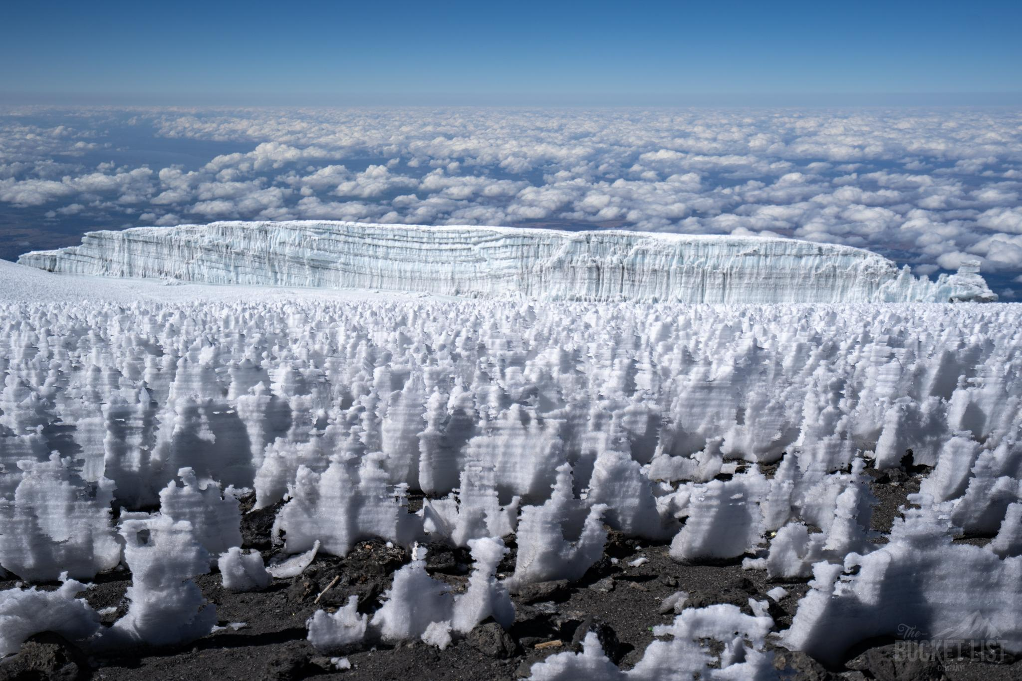A horizon view looking out over the Kilimanjaro Glacier