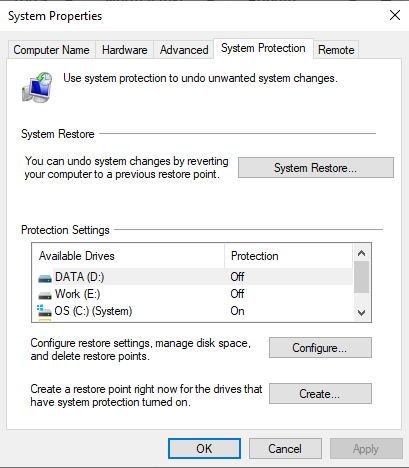 Navigate to the System protection tab.