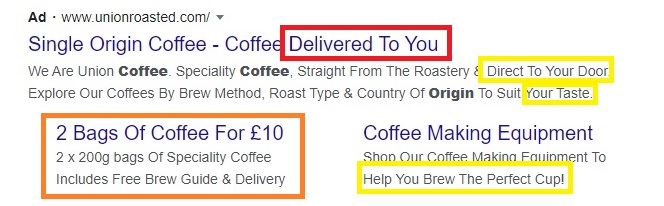 Highlighted examples of an optimised PPC ad