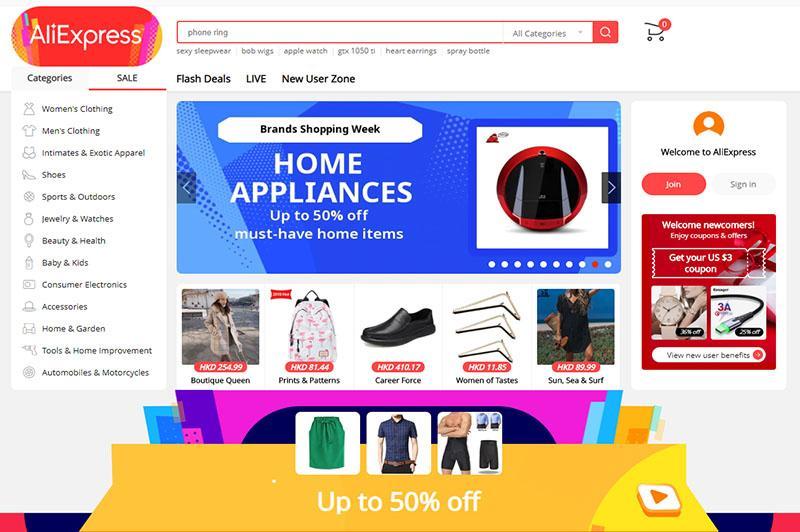 aliexpress là website Trung Quốc thuộc tập đoàn Alibaba chuyên bán lẻ hàng nội địa cho người nước ngoài