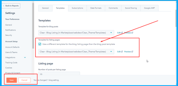 Select s blog for different listing template
