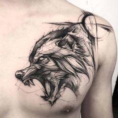 Fenrir Watercolor Style Tattoo