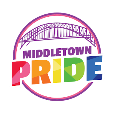 Image: Circular Middletown Pride logo in rainbow letters, underneath the Arrigoni Bridge