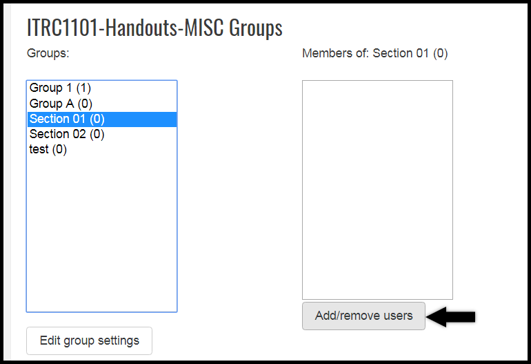 User addition menu for groups