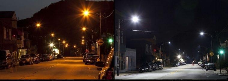 Освещение улицы светильниками с теплым светом и холодным