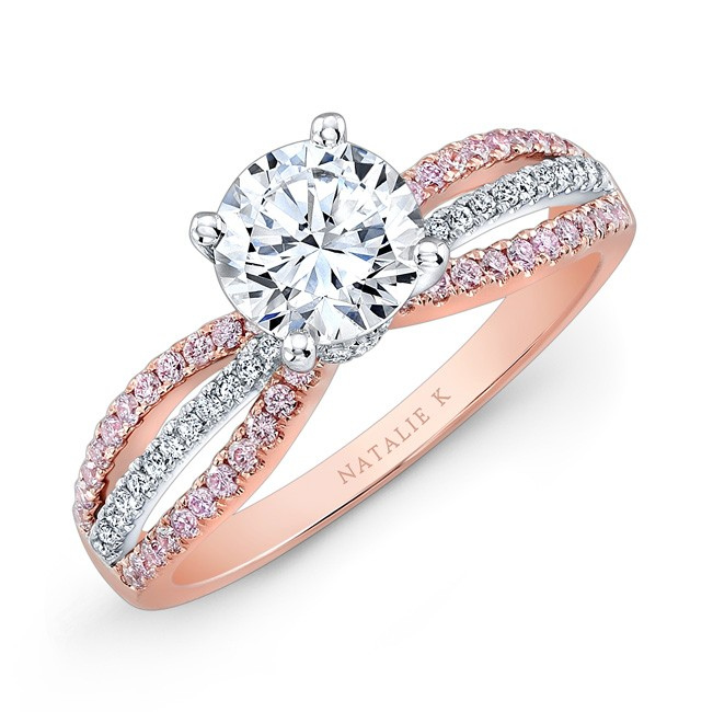 18k Rose and White Gold Pink and White Diamond SplitShank Diamond Engagement Ring by Natalie K