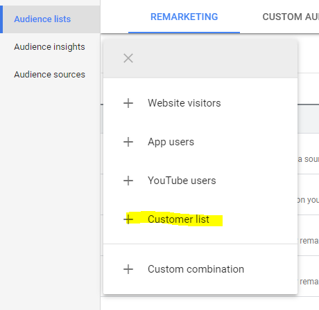 Adding Google new custom audience
