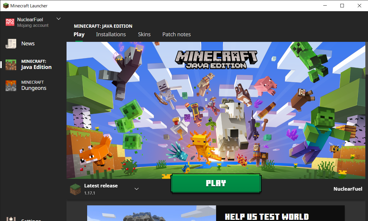Minecraft Launcher for the Java 1.17.1 edition
