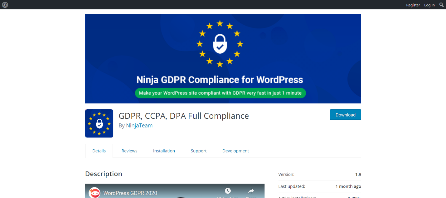 Ninja GDPR Compliance for WordPress: GDPR, CCPA, DPA Full Compliance