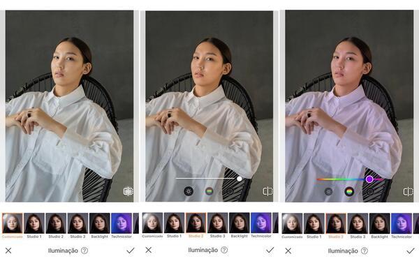 Foto de uma mulher asiática usando uma camisa branca, sentada, sendo editada pelo airbrush