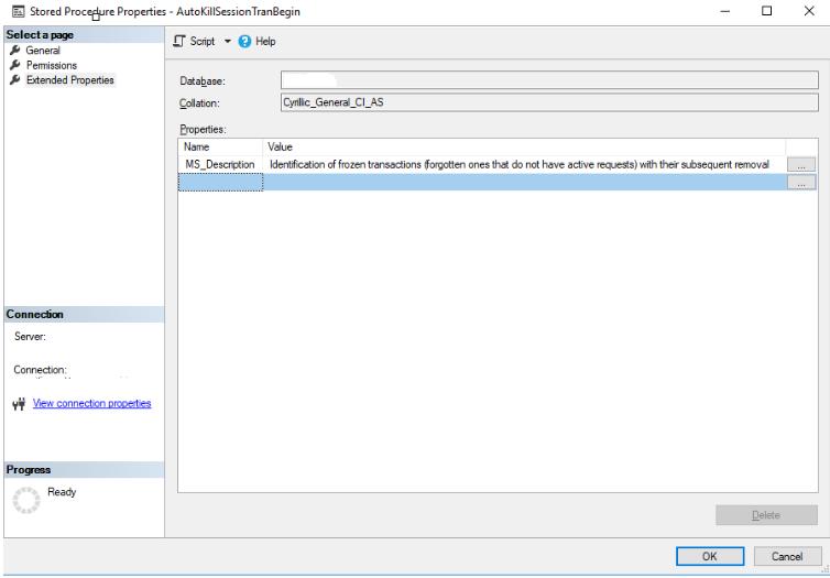 Adding the stored procedure's description