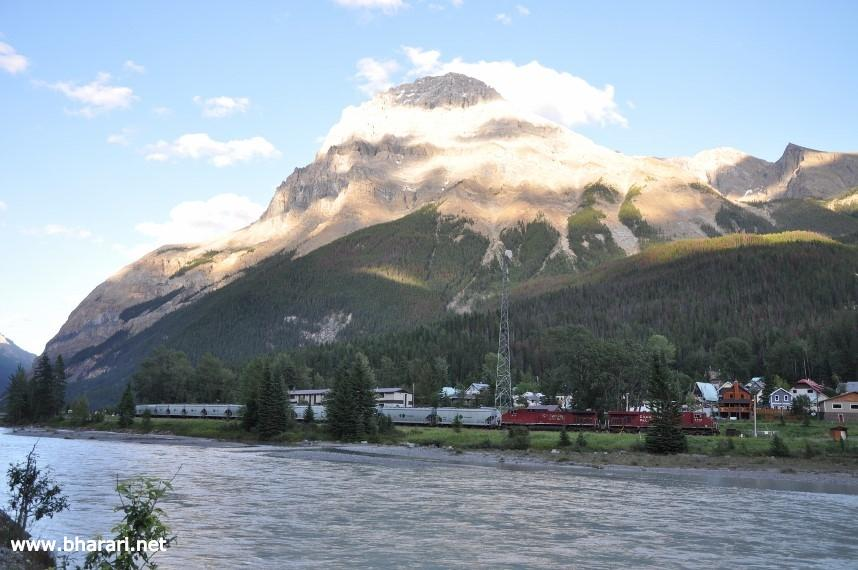 Town of Field in the backdrop of mountains and overlooking the Kicking Horse River