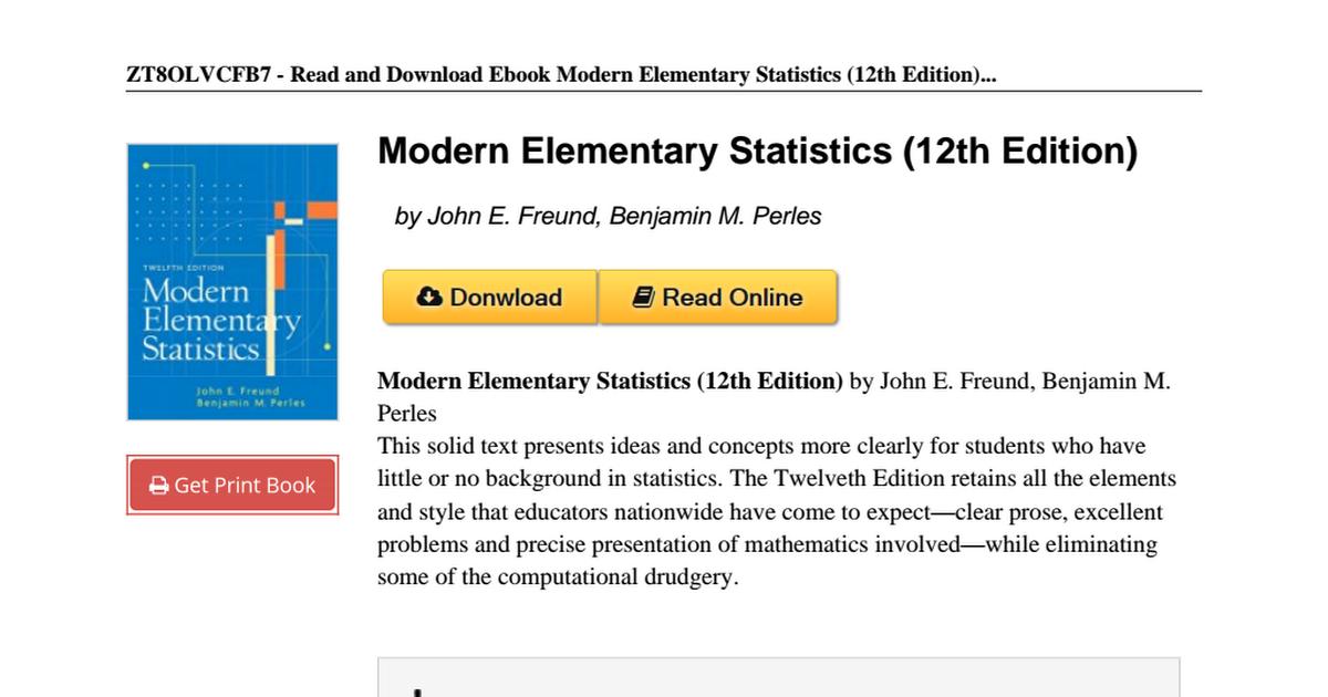 Modern elementary statistics 12th edition 013187439xpdf google drive fandeluxe Gallery