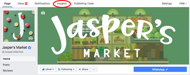 Ảnh chụp màn hình của tab Thông tin chi tiết ở đầu trang Facebook dành cho doanh nghiệp