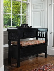 FARMHOUSE style black bench with hand carved crown and storage area