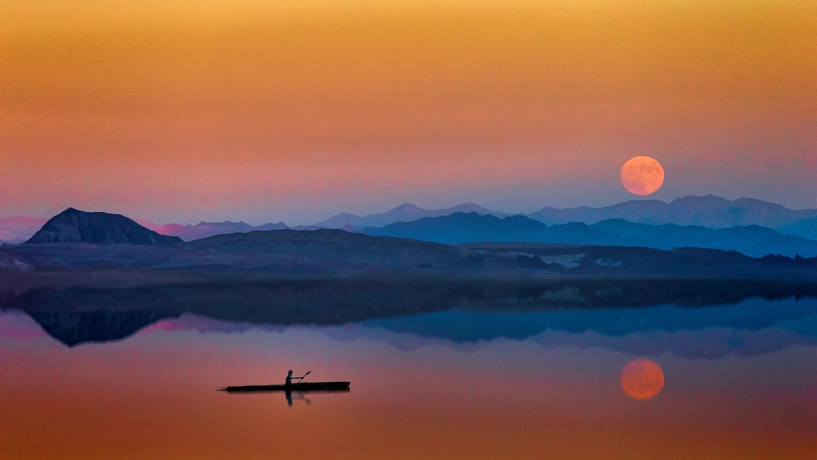 man rowing on lake with moon