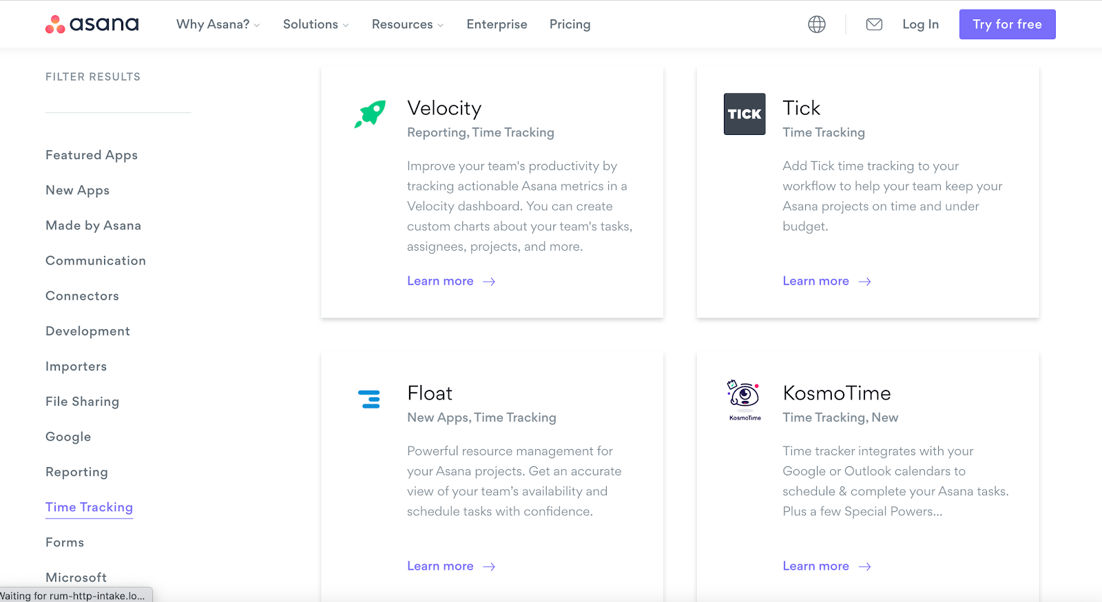 Asana Site - Time Tracking Apps