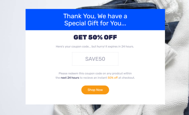 Thank you page with 50% off.