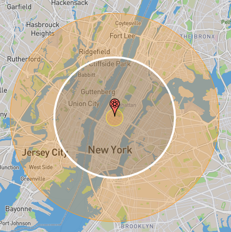 The the circle with the white border indicates the zone of moderate blast damage radius (5 psi): 7.03 km (155 km²) from a 1,000 kiloton warhead, link to nukemap
