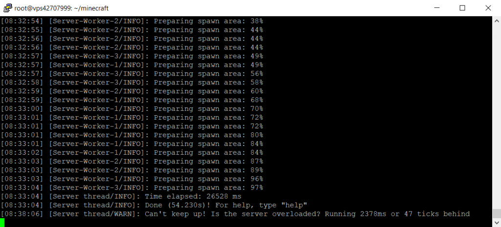 tela de instalação do servidor de minecraft
