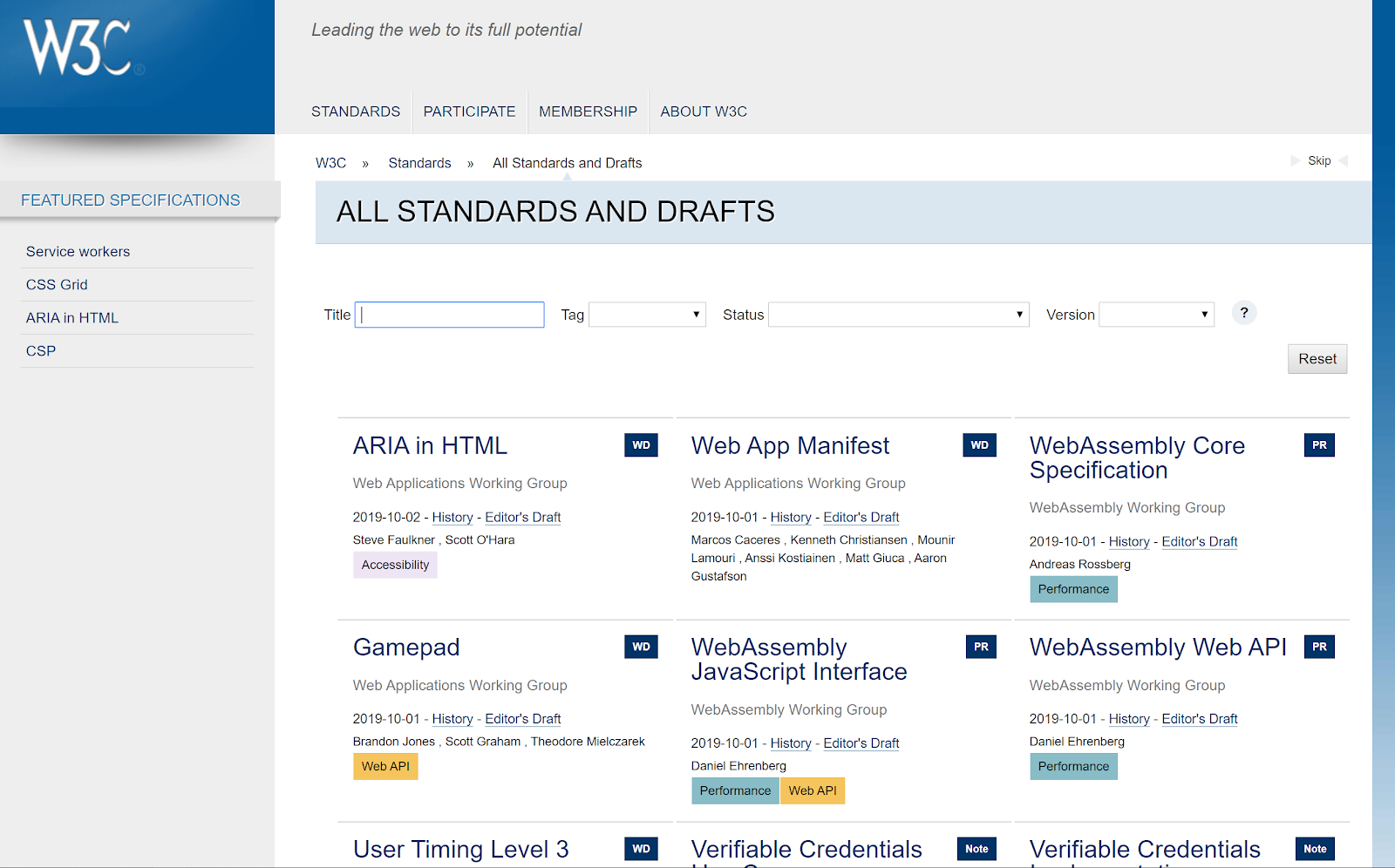 web design standards w3c