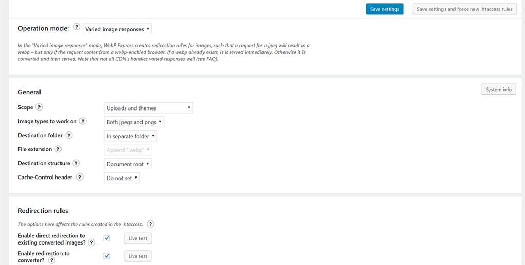 página de configurações do plugin webp express