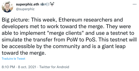 Publication Twitter Superphiz - développeurs Ethereum fusion Ethereum 2.0 preuve d'enjeu (proof of stake - PoS)
