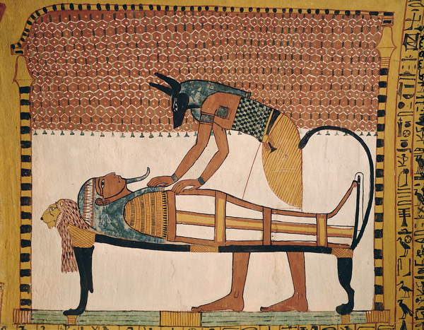 Image of Anubis attends Sennedjem's Mummy, from the Tomb of Sennedjem, The Workers' Village, New Kingdom (mural), Egyptian 19th Dynasty (c.1292-1187 BC) / Egyptian, Deir el-Medina, Thebes, Egypt, © Bridgeman Images