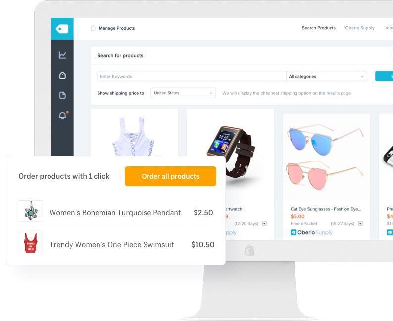 dashboard de gestão de loja da Shopify