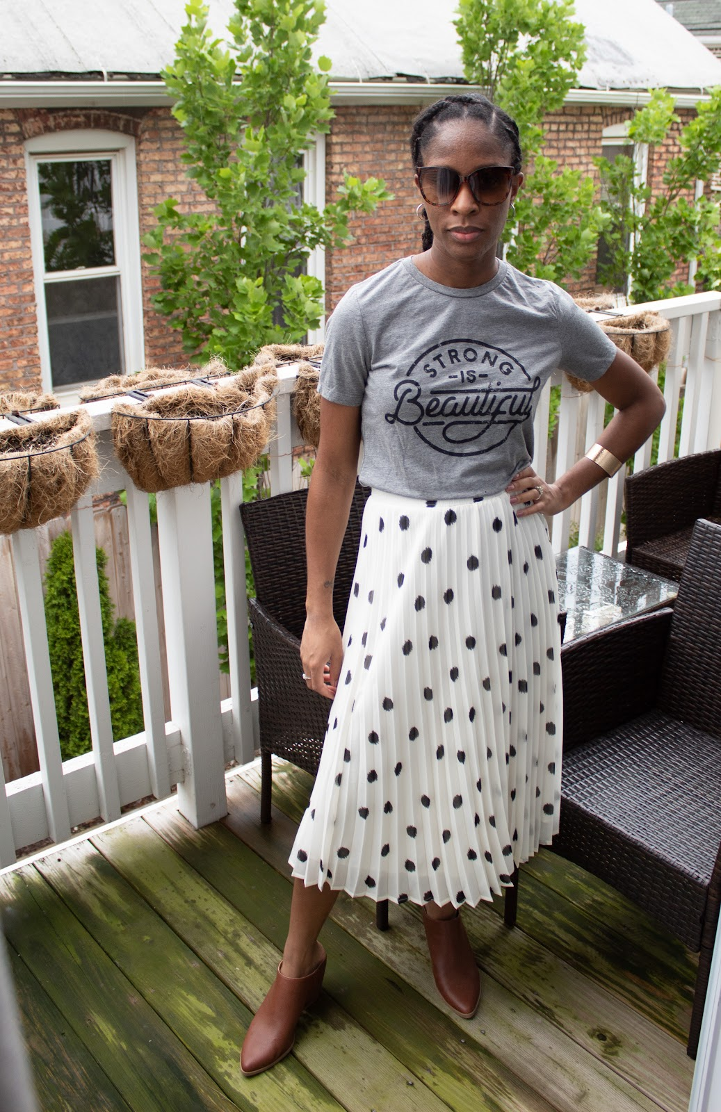 Graphic Tee and Midi Skirt Patience & Pearls
