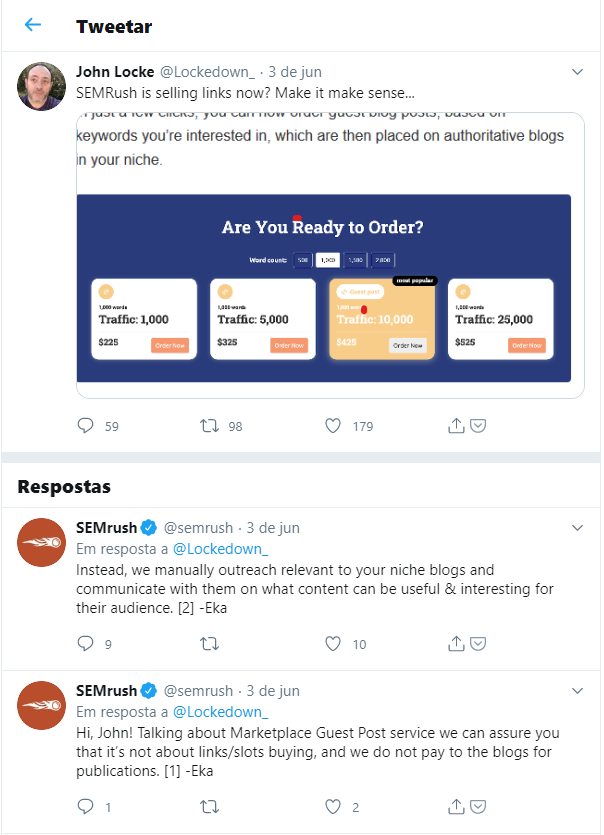 tweets do usuário @Lockedown_ sobre a venda de links, novo serviço da SEMrush
