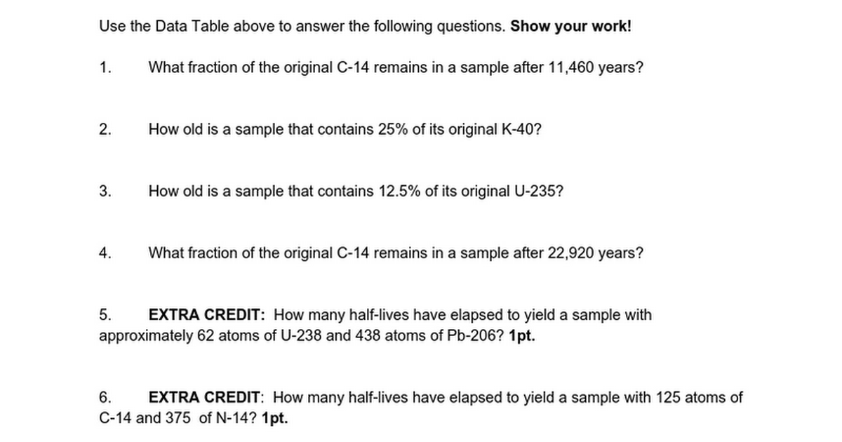 radiometric dating questions worksheet Good idea is to have the graph printed on the worksheet with the data table  radiometric dating  pre-lab questions 1 describe what relative dating is and.