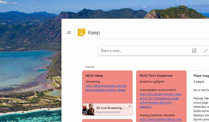 Скриншот Google keep