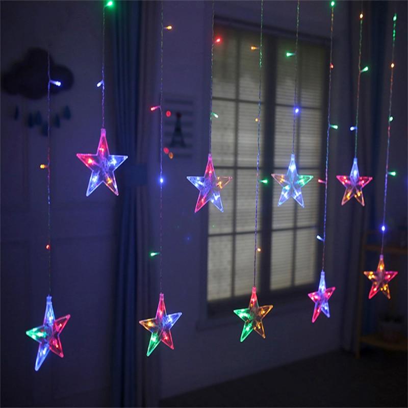 2.5M LED North Star Curtain Light 220V EU Christmas Garland String Fairy Lights