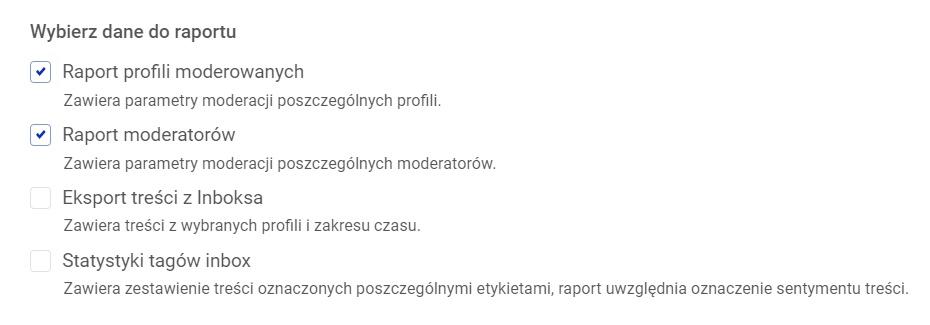 Raporty wyników profili społecznościowych