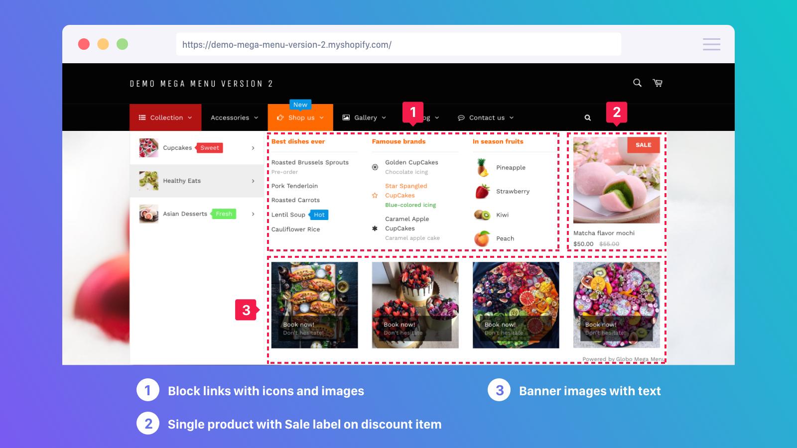 block links, product in menu, banner image, tab