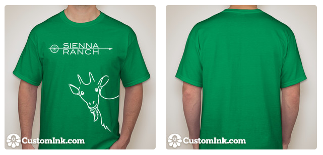 White logo and goat image printed on kelly green t-shirt. **SOLD OUT YOUTH SMALL**
