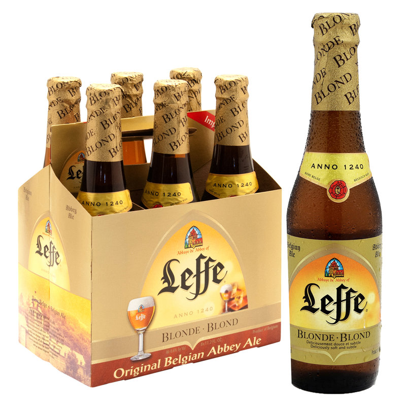 6-Pack of Leffe Blonde beer next to a single bottle