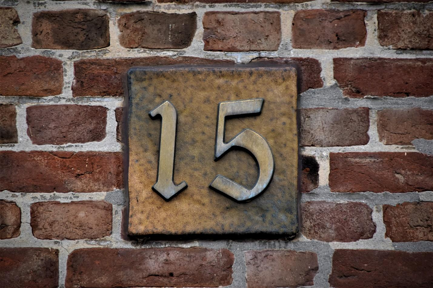 Brass house number.