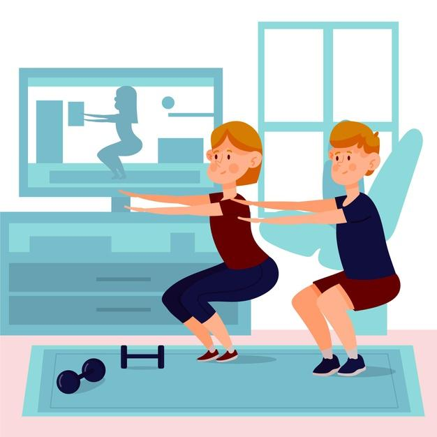 Online sport classes people doing squats Free Vector