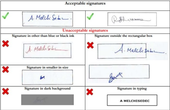 Scanned Signature Specification for GATE Application Form 2022