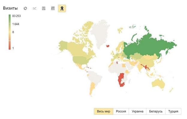 аудитория Яндекс.Дзен на карте мира