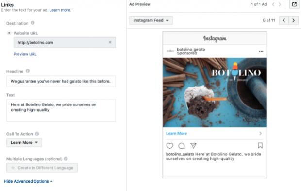 Call to action advertising on Instagram