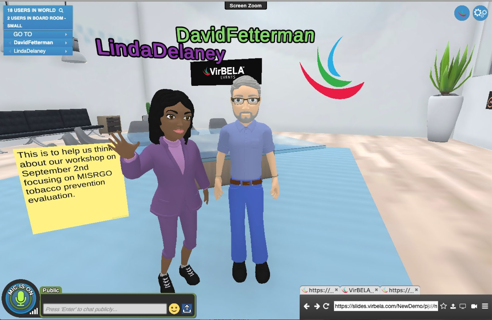 Image of VirBela screen with avatars of David and Linda.