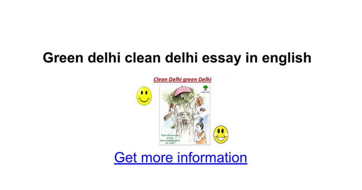 Green Delhi Clean Delhi Essay In English  Google Docs
