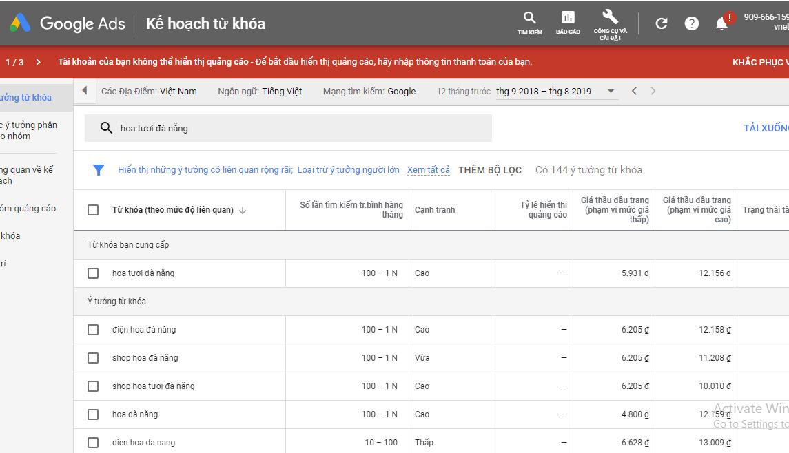 học làm seo với công cụ Google Keyword Planner