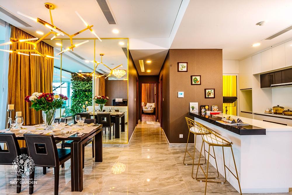 Phòng khách được thiết kế tinh tế tại dự án Green Star Sky Garden