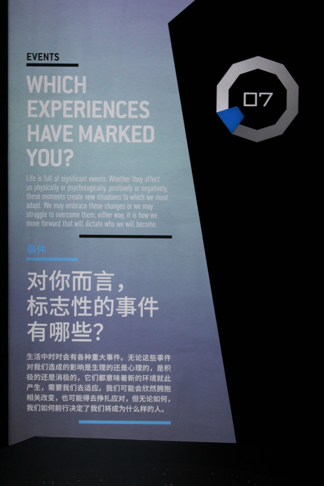 Informational display on Experiences