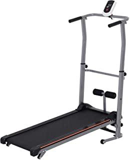 Soozier 2-in-1 Manual Walking Treadmill & Sit-up Station Portable Folding Incline Cardio Fitness Exercise Home Gym
